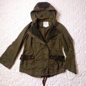 Anthro Hei Hei XS Anorak Utility Jacket Green Lace